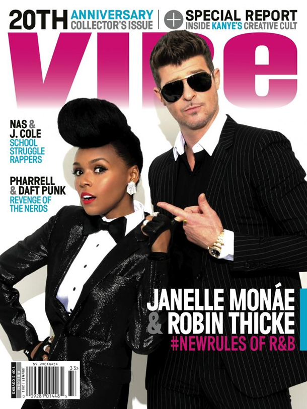 Janelle Monáe and Robin Thicke on the Vibe Summer 2013 Cover